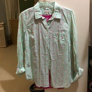 Pink and Aqua Flamingo Button Up